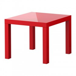 Bàn trà Ikea / Side table, high-gloss red