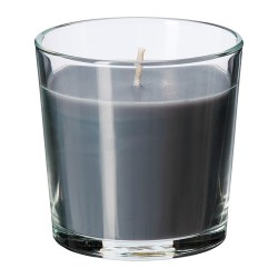 Nến thơm Ikea/ Scented candle in glass, Calming spa, grey
