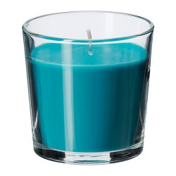 Nến thơm Ikea/ Scented candle in glass, Beach breeze, turquoise