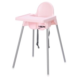 Ghế ăn dặm IKEA - ANTILOP Highchair with tray (hồng nhạt / light pink)
