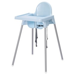 Ghế ăn dặm IKEA - ANTILOP Highchair with tray (lam nhạt / light blue)